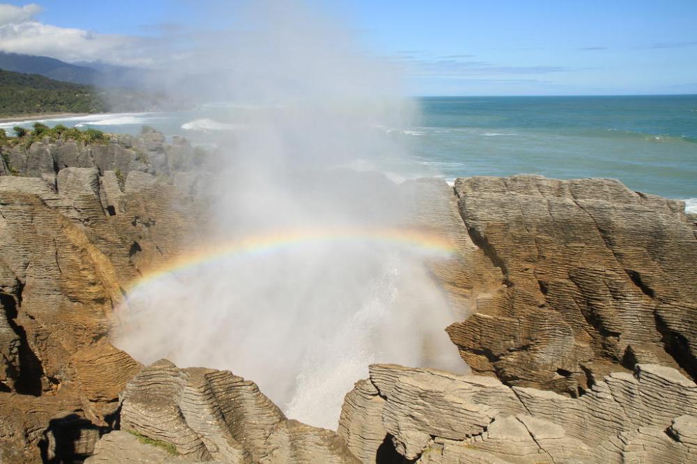 pancake rocks blowhole rainbow