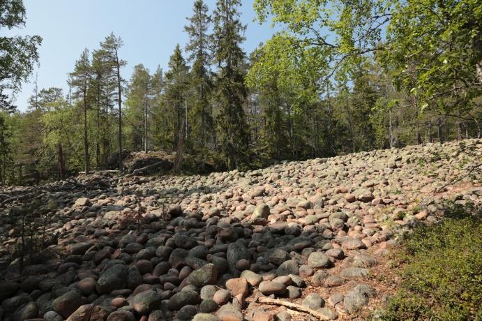 Ein Geröllfeld mit Steinen die durch die Wellen geformt und geschliffen wurden etwa 200 m über NN